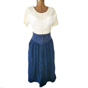 Vintage high waisted navy blue corduroy midi skirt